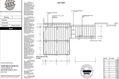 image of a deck permit plan detailing the structural layout of the deck