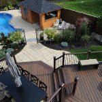 Custom deck, cabana and backyard landscaping
