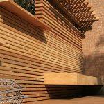Floating bench built into custom cedar screen
