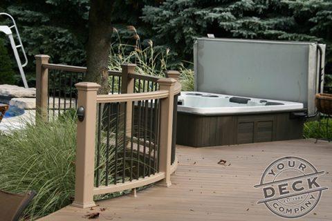 Trex deck railing with a custom curve